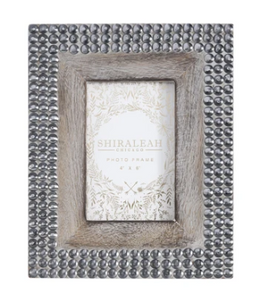 "Marias Studded 4"" x 6"" Picture Frame, Grey"