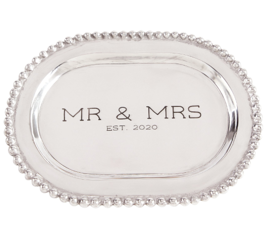 Mr and Mrs Beaded Metal Platter