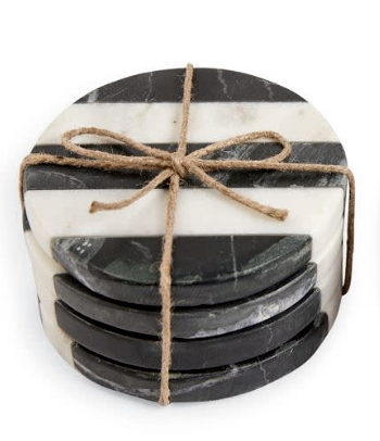 Black and White Striped Marble Coasters