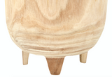 "12""H Footed Paulownia Wood Planter"