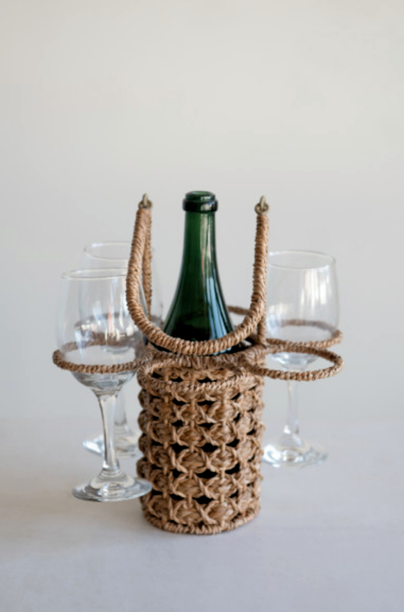 Woven Seagrass Wine Bottle & Glass Holder
