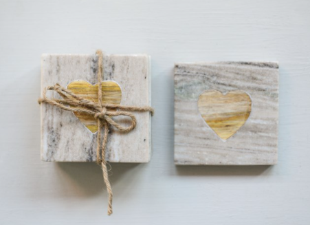 Heart Marble & Wood Coasters