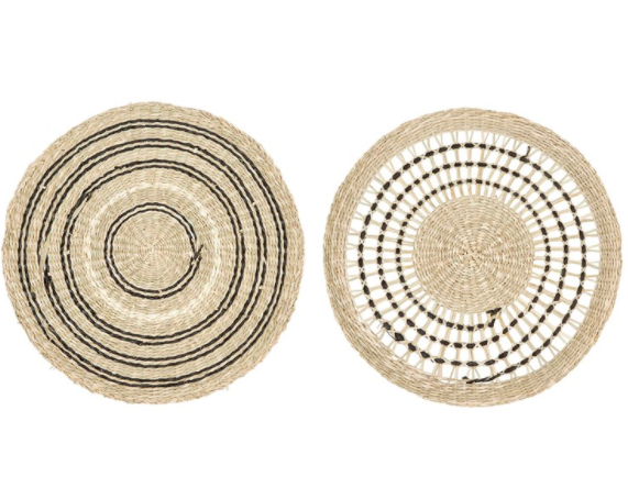 Set of 2 Round Hand-woven Seagrass Placemats