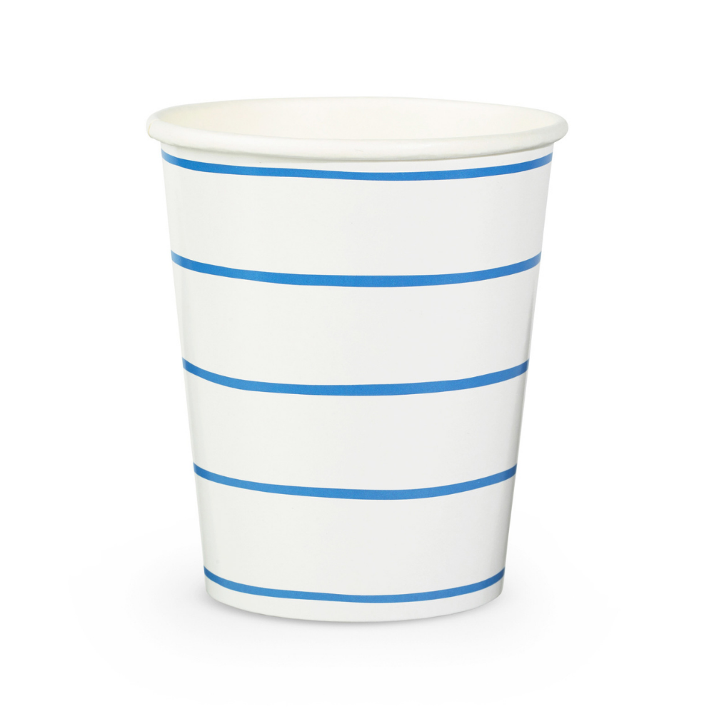 Frenchie Striped Cobalt 9 oz Cups - 8 Pk.