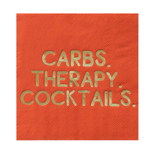 """Carbs, Therapy, Cocktails"" Cocktail Napkins"