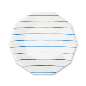 Frenchie Striped Cobalt Plates - 8 Pk.
