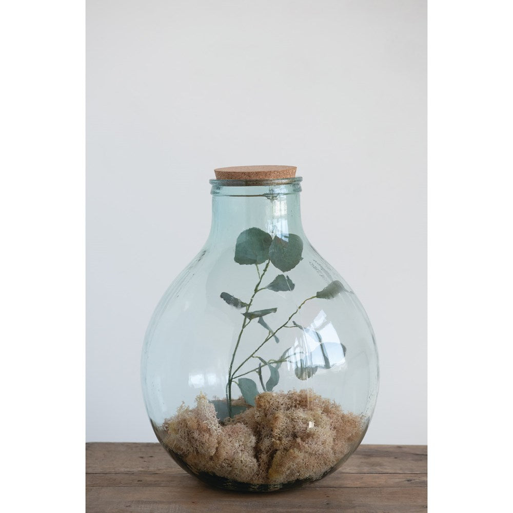"14.5"" Round x 18""H Recycled Glass Jar with Cork Lid"