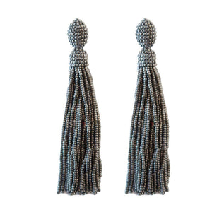 Seed Bead Holiday Tassels - Silver
