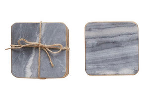 Square Grey Marble Coasters with Gold Edge