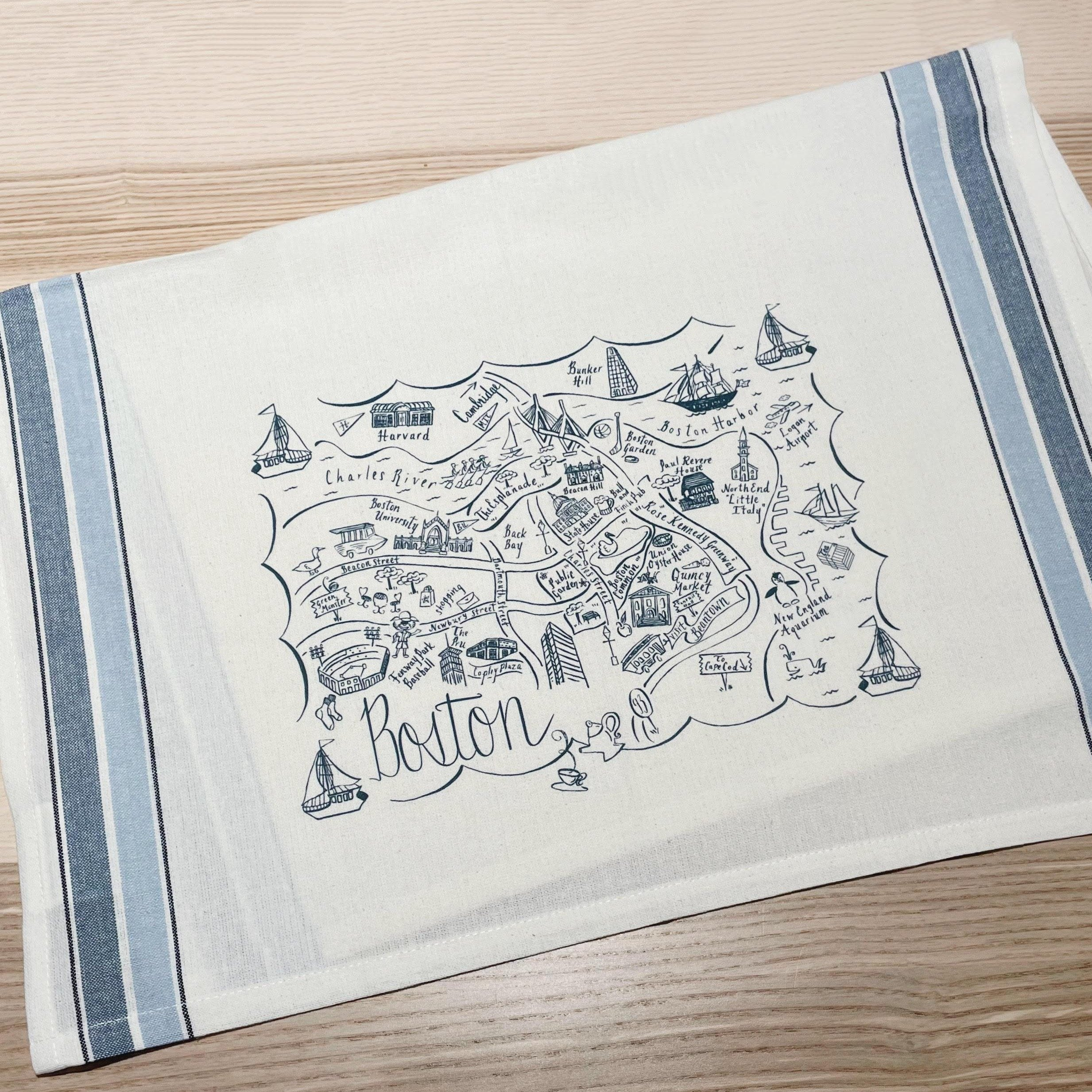 Boston Blue Outline Tea Towel