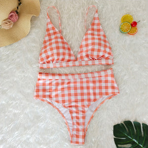 High Waist Plaid Bikini