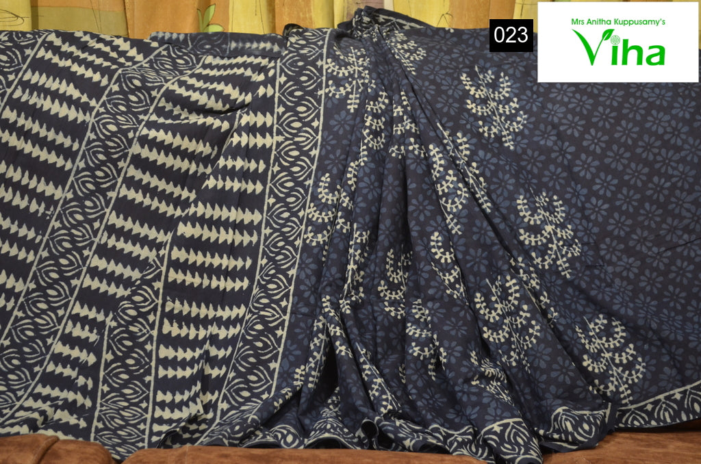 Mulmul Cotton Indigo Saree