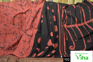 Mulmul Cotton Black Saree