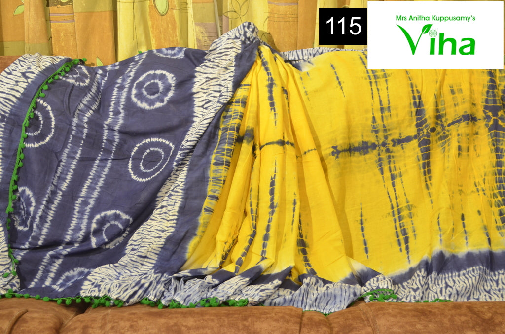 Mulmul Cotton Saree With Pompom