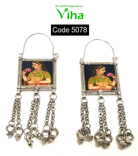 Ravi Varman Art Work Enamel Earrings