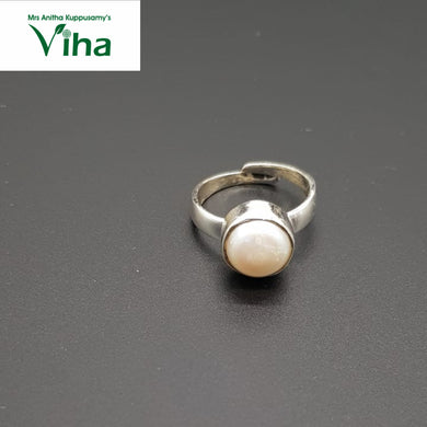 Pearl Silver Finger Ring 5.6 g - Adjustable - For Gents