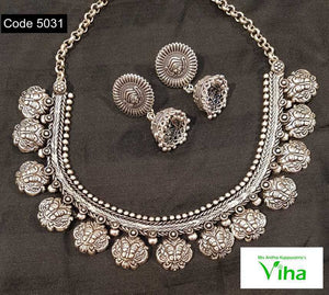 German Silver Jhumki Neckset