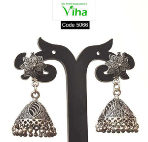 Black Metal Oxidised Flower Jhumka