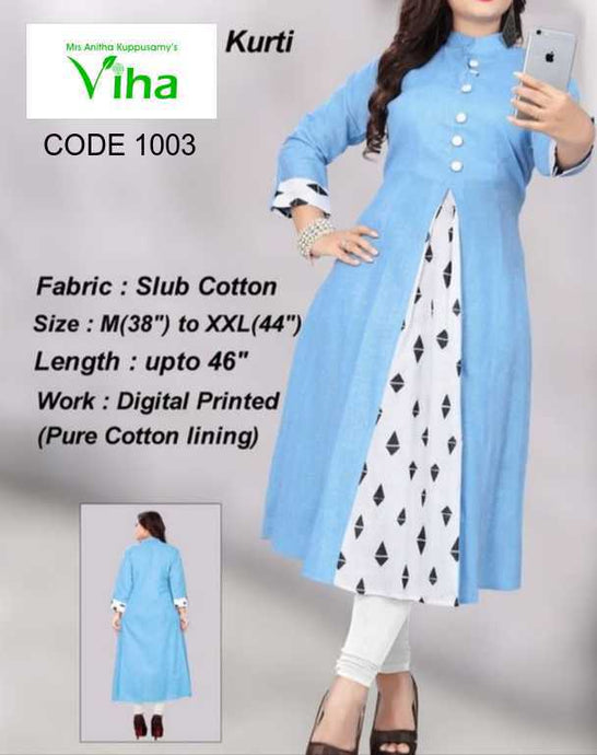 Trendy Slub Cotton Kurti