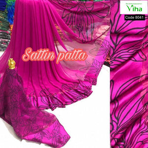 Georgette Saree With Sattin Border