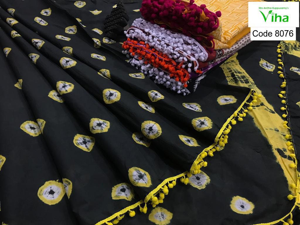 Shibori Cotton Saree With Pompoms
