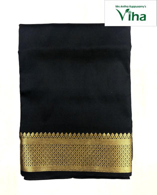 Cotton silk blouse with border (1 metre) black