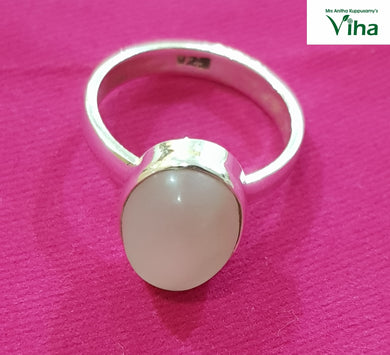 Silver Moon Stone Finger Ring Size-19 / 6.03 Grams / மூன் ஸ்டோன் மோதிரம்