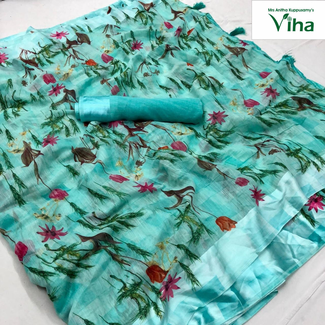 LINEN COTTON SILK SAREE WITH BLOUSE(inclusive of all taxes)