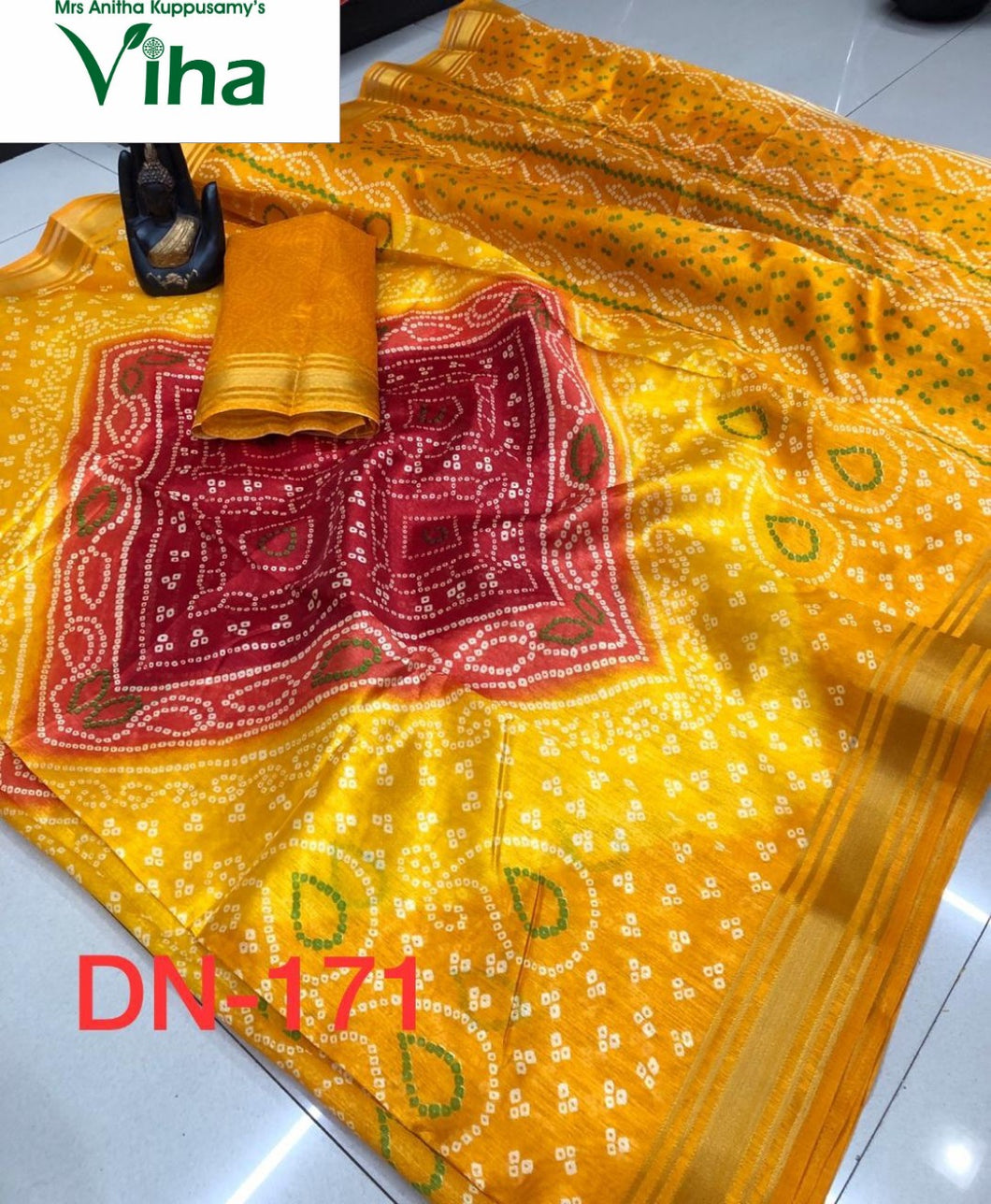 COTTON SILK BANDHNI SAREE