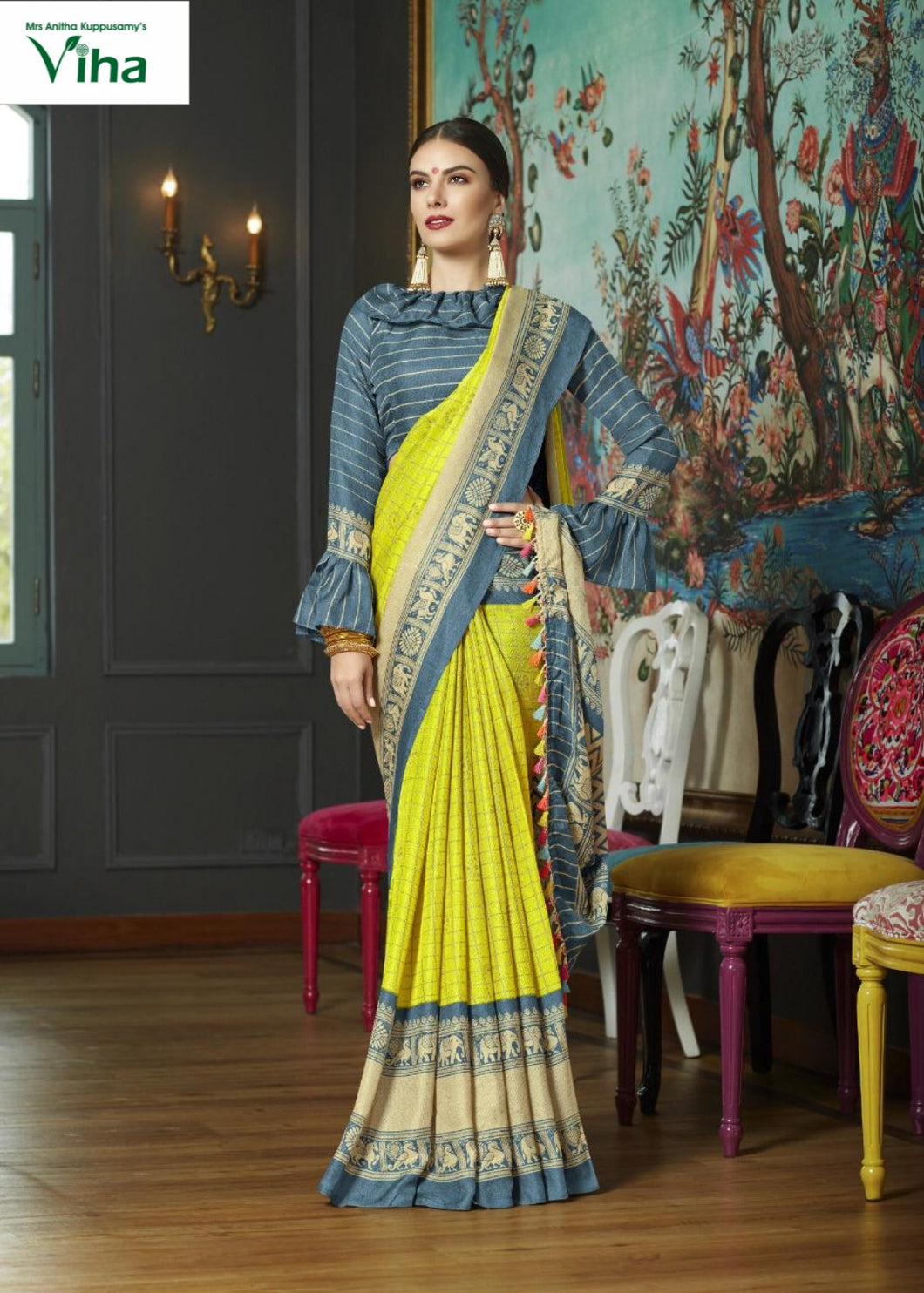JUTE LINEN SILK SAREE - including tax