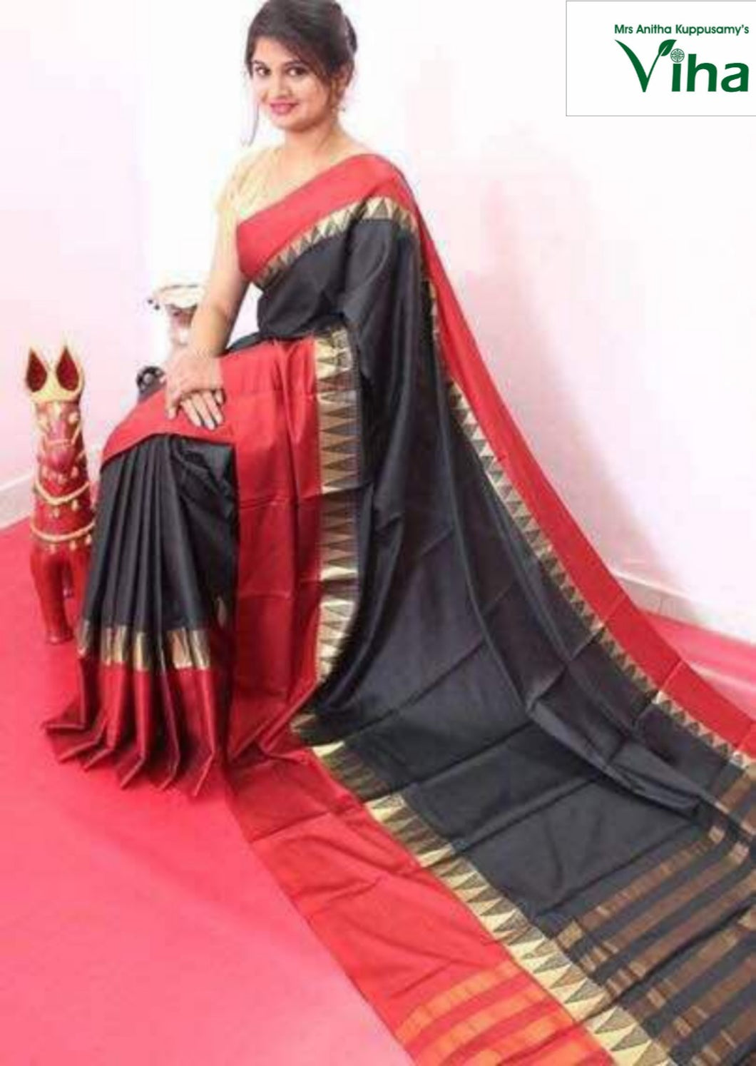 COTTON SILK SAREE GOPURAM BORDER  WITH RUNNING BLOUSE code no :V-5004 (inclusive of all taxes)