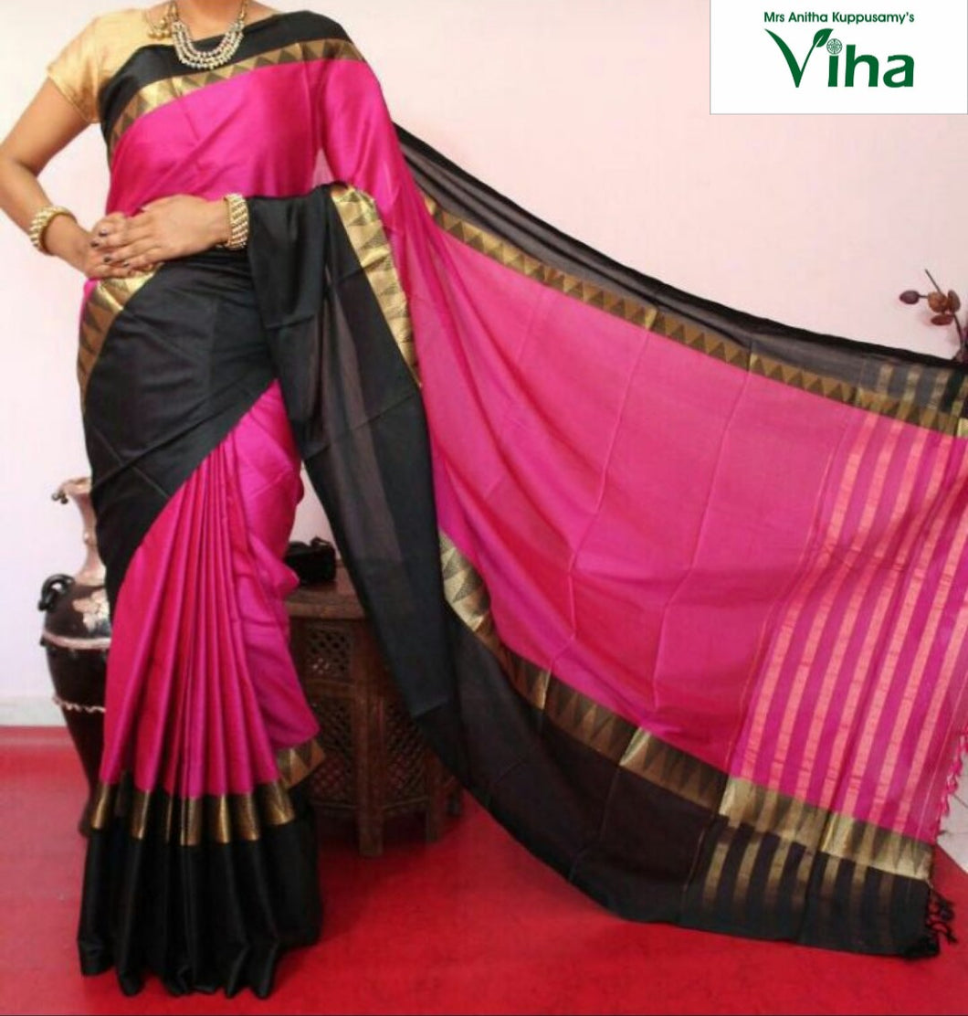 COTTON SILK SAREE GOPURAM BORDER WITH RUNNING BLOUSE (inclusive of all taxes)