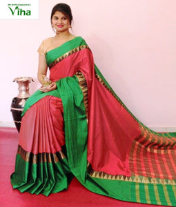 COTTON SILK SAREE GOPURAM BORDER WITH RUNNING BLOUSE(inclusive of all taxes)