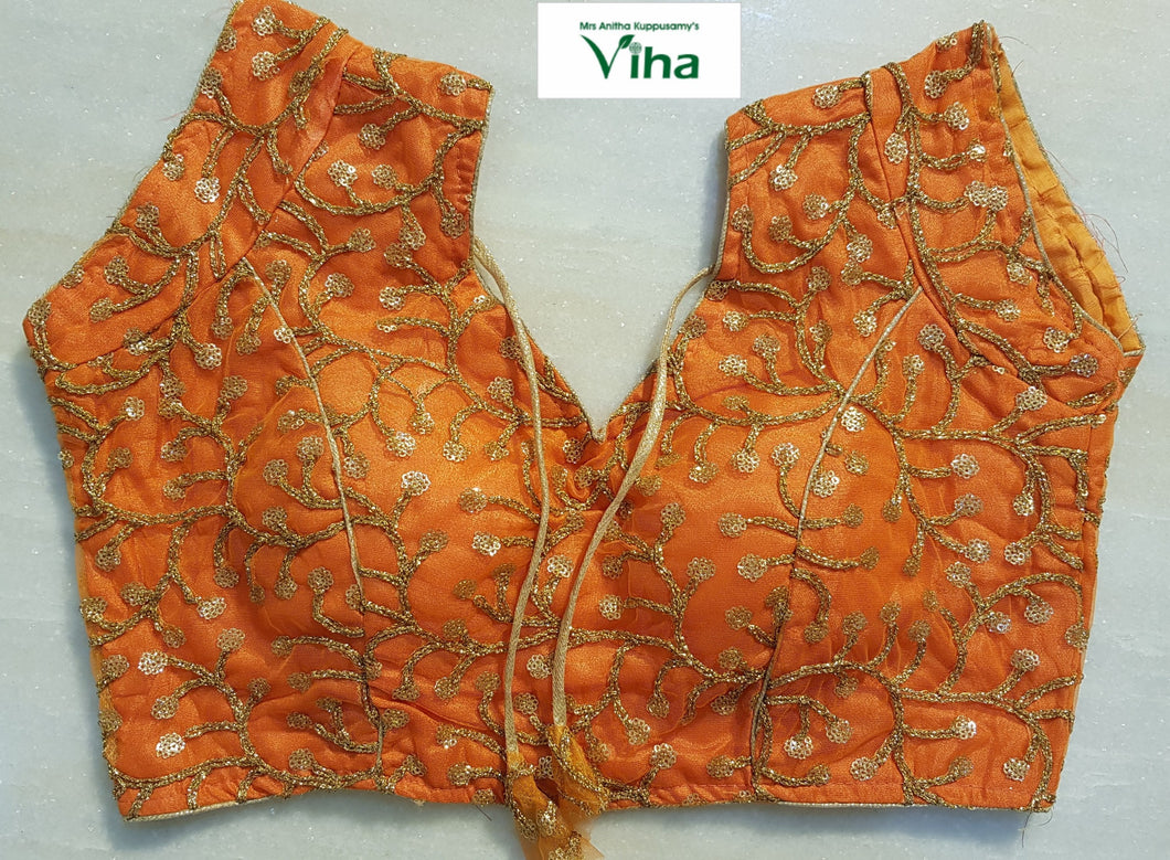 Ready made blouse with golden embroidery