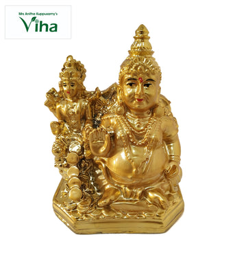 Solid Rock Kuber Statue with golden colour small  /  குபேரர் சிலை சிறியது