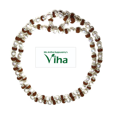 Rudraksh Mala Silver Cappings With Original Pearl