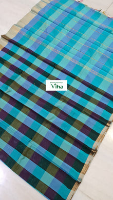 Cotton Silk Checked Zari Border Saree with Running Blouse (inclusive of all taxes)