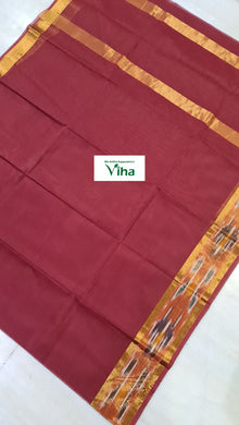 Pure Soft Cotton Saree with ikkat zari border & with running blouse (inclusive of all taxes)