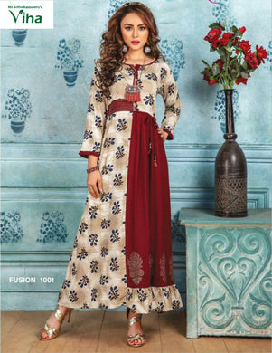 Reyon Long Kurti with print & embroidery(inclusive of all taxes)