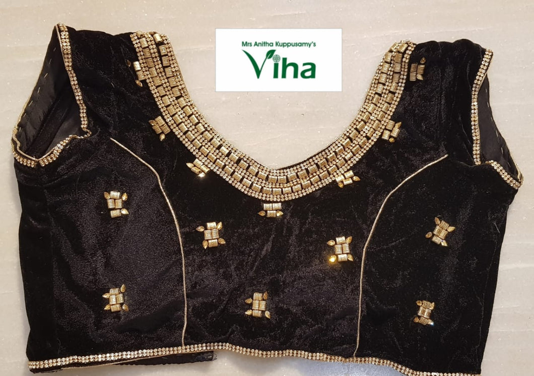Ready made velvet blouse with stone work