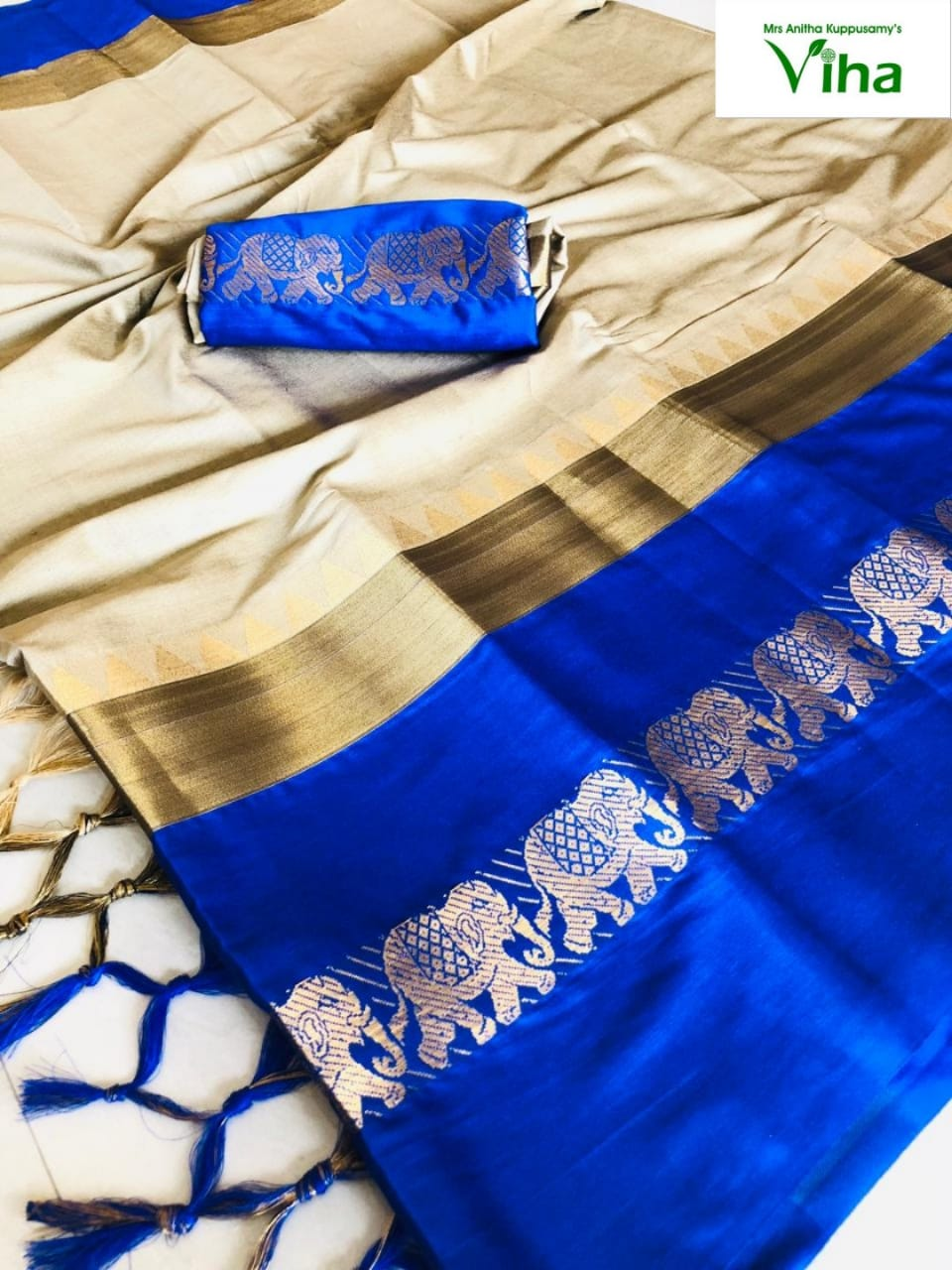 Soft Silk Saree Elephant border Code no : 5027(inclusive of all taxes)