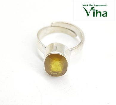Silver Yellow Sapphire Ring - Men - 5.90 g