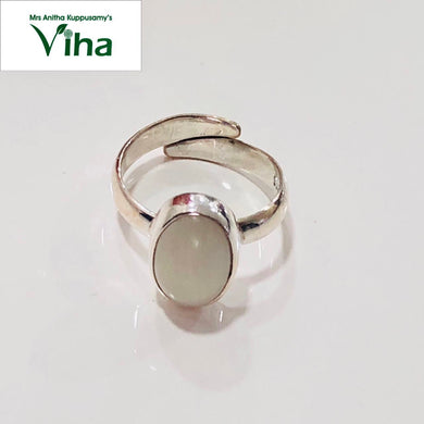 Silver Moon Stone Oval Cut Ring for Ladies - 3.85 g