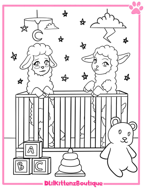 Twin Lamb Coloring Page