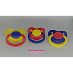 Mismatch Primary Colored Adult Pacifiers