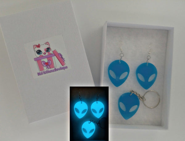 Glow in the Dark Alien Earrings CUSTOM OPTIONS