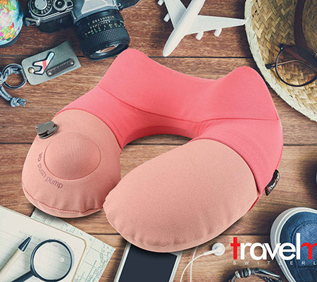 TravelMall 3D Inflatable Neck Pillow Singapore - Travel Pillow Pink - the-Expedition.com