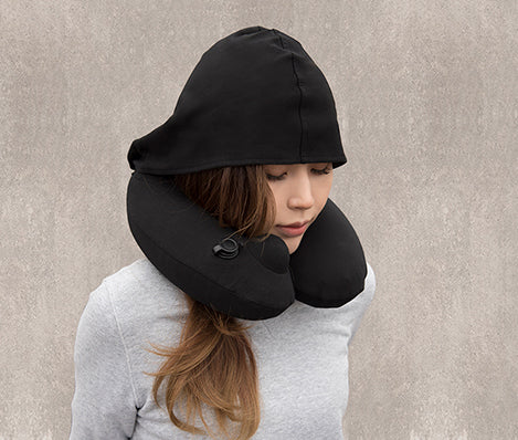 Travelmall 3D Inflatable Nursing Neck Pillow with Patented Pump & Hood Singapore -   - the-Expedition.com