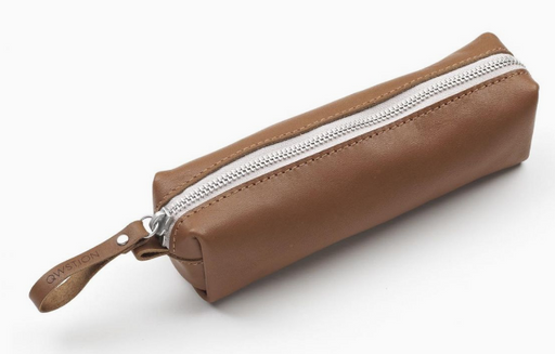 Qwstion Pencil Pouch Singapore -  Brown Leather Canvas - the-Expedition.com