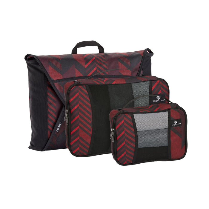 Eagle Creek Pack-It Original Packing Cubes Starter Set Singapore - Packing Cube Tribal Irregularity Red - the-Expedition.com